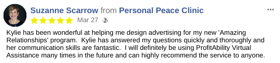 Graphic Design Virtual Assistant Testimonial - Suzanne Scarrow