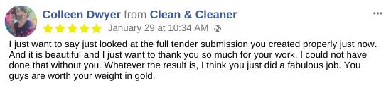 Tender Submission Testimonial